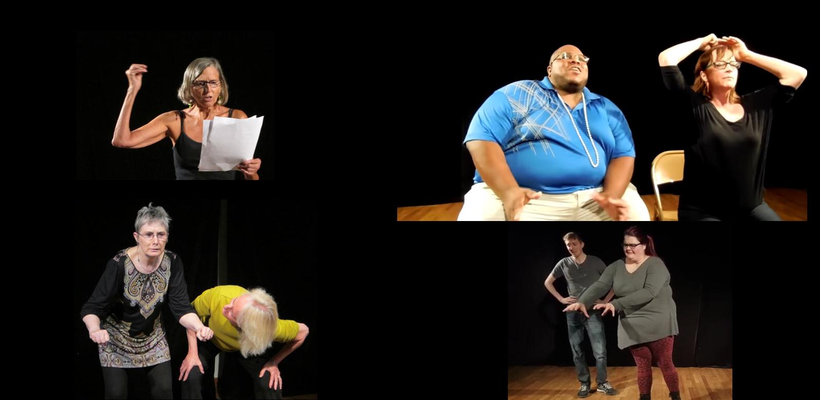 Various players perform improv scenes